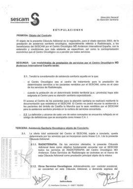 Segunda página del convenio entre MD Anderson y el SERCAM.