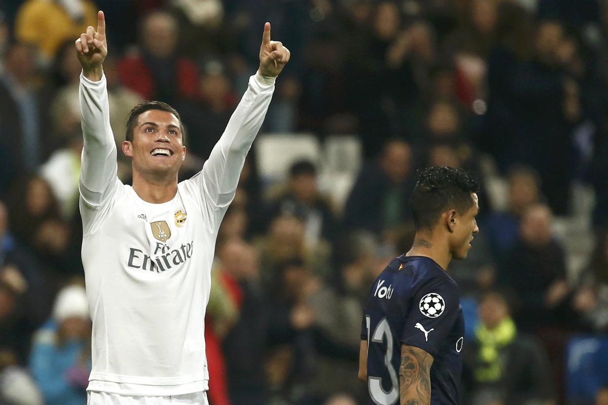 Cristiano celebra uno de los goles ante el Malmö. (AFP)