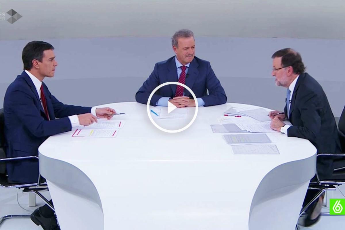 Mariano Rajoy y Pedro Sánchez en el debate electoral