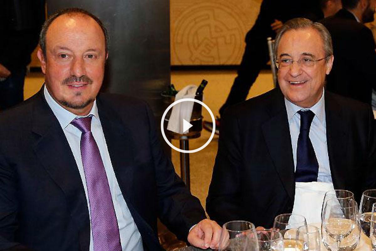Florentino, junto a Benítez en la comida de Navidad (realmadrid.com)
