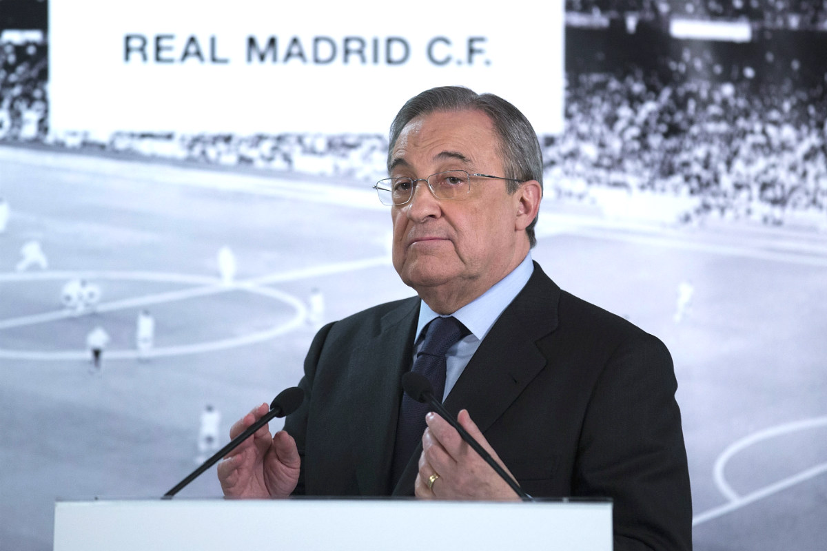 Florentino Pérez, presidente del Real Madrid, en rueda de prensa. (Getty)