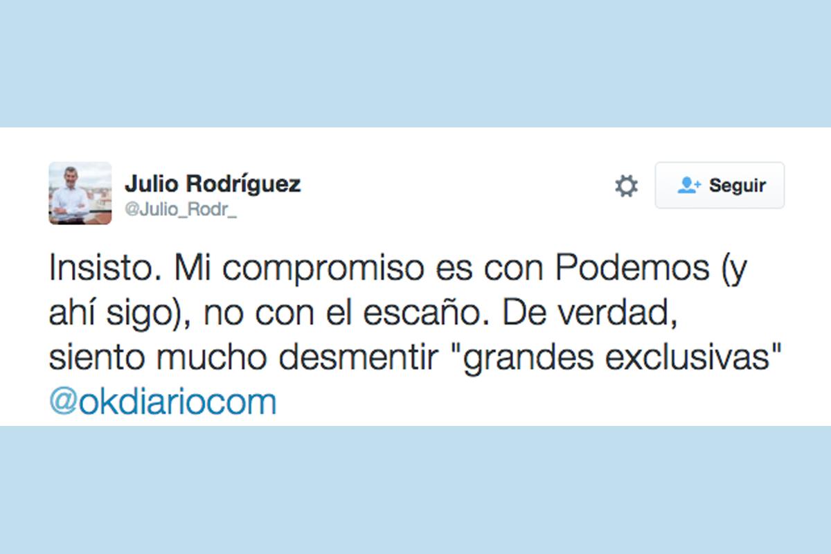 Tuit de Julio Rodríguez a las 11:10 horas de este miércoles. (Imagen: @Julio_Rodr_)