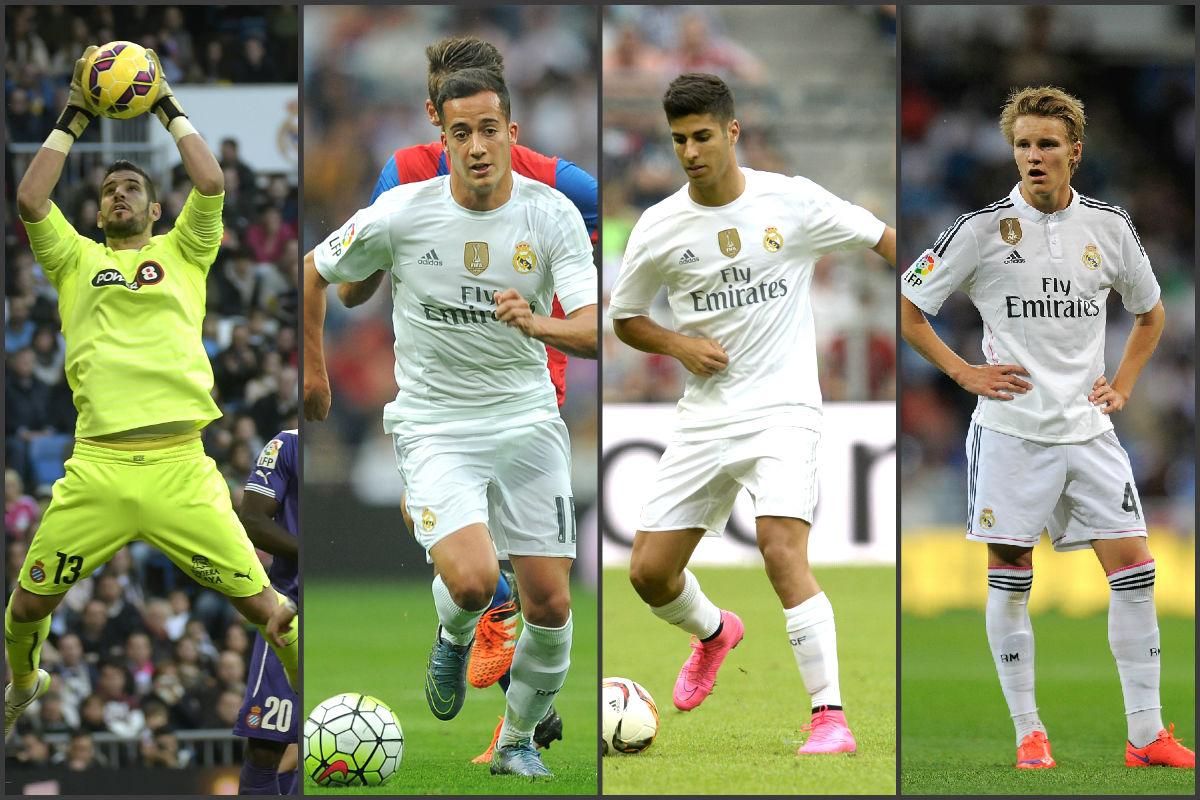 Casilla, Lucas Vázquez, Asensio y Odegaard, jugadores del Real Madrid.