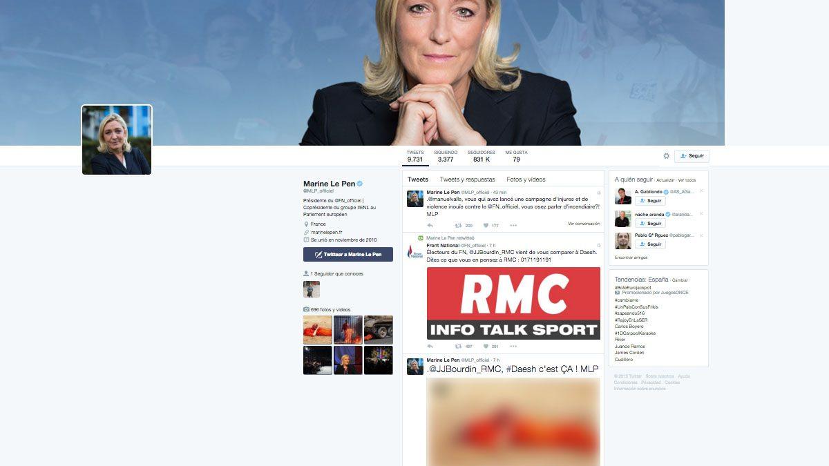 Perfil de Twitter de Marine Le Pen. (Foto: @MLP_officiel)