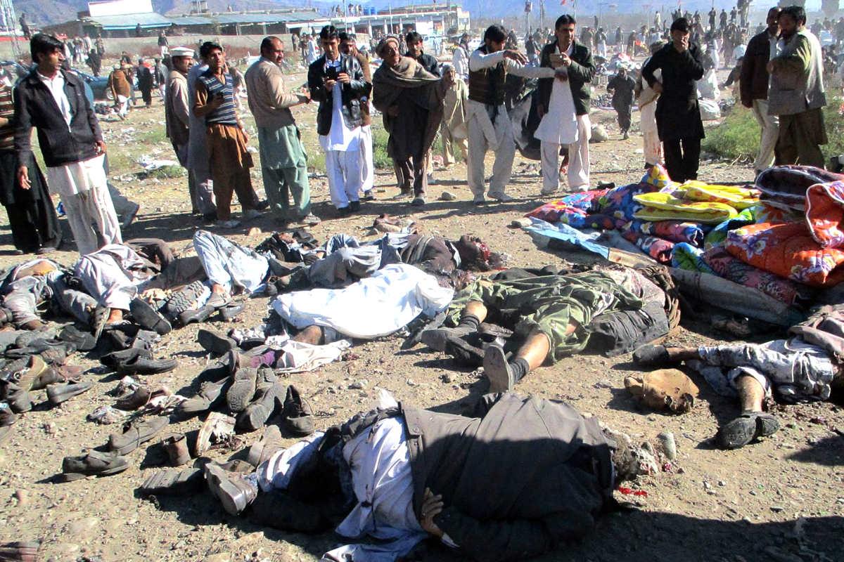 Imagen de los cuerpos de las víctimas (Foto: AFP).