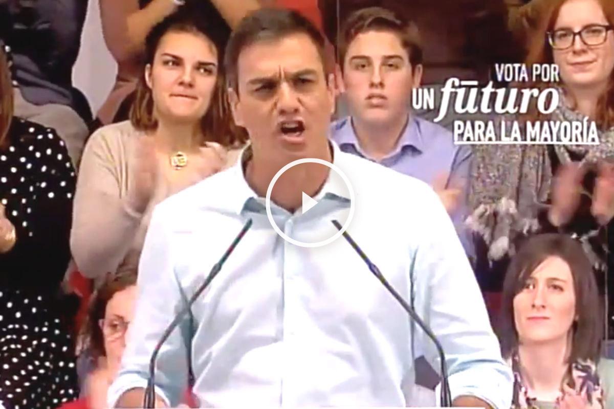 El secretario general del PSOE, Pedro Sánchez, gritando en un mitin electoral