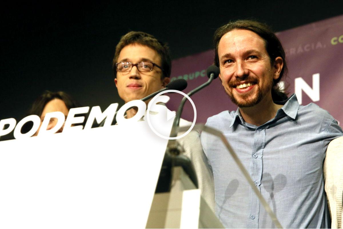 Íñigo Errejón y Pablo Iglesias en un acto de Podemos (Foto: Efe).