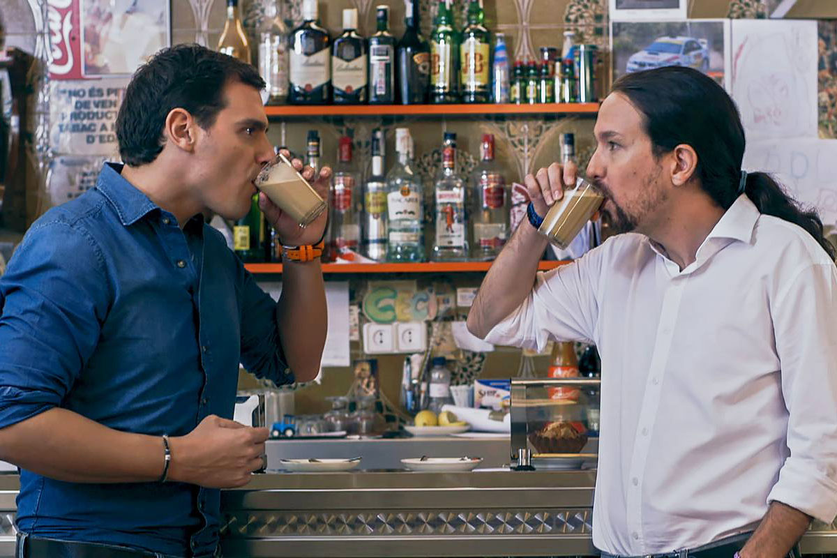 Rivera e Iglesias en el particular debate que organizó Jordi Évole. (Foto: laSexta)