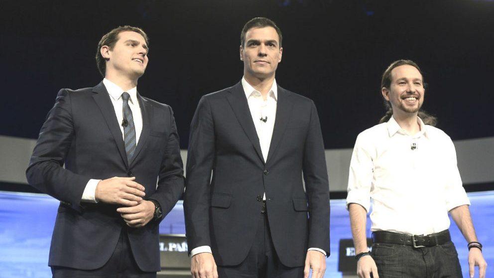 Los líderes de C's,Albert Rivera; PSOE, Pedro Sánchez, y Podemos, Pablo Iglesias.
