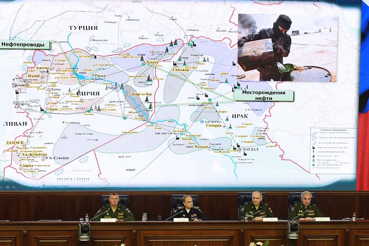El ministro de Defensa ruso presenta las pruebas contra Turquía en una comparencia. (Foto: AFP)