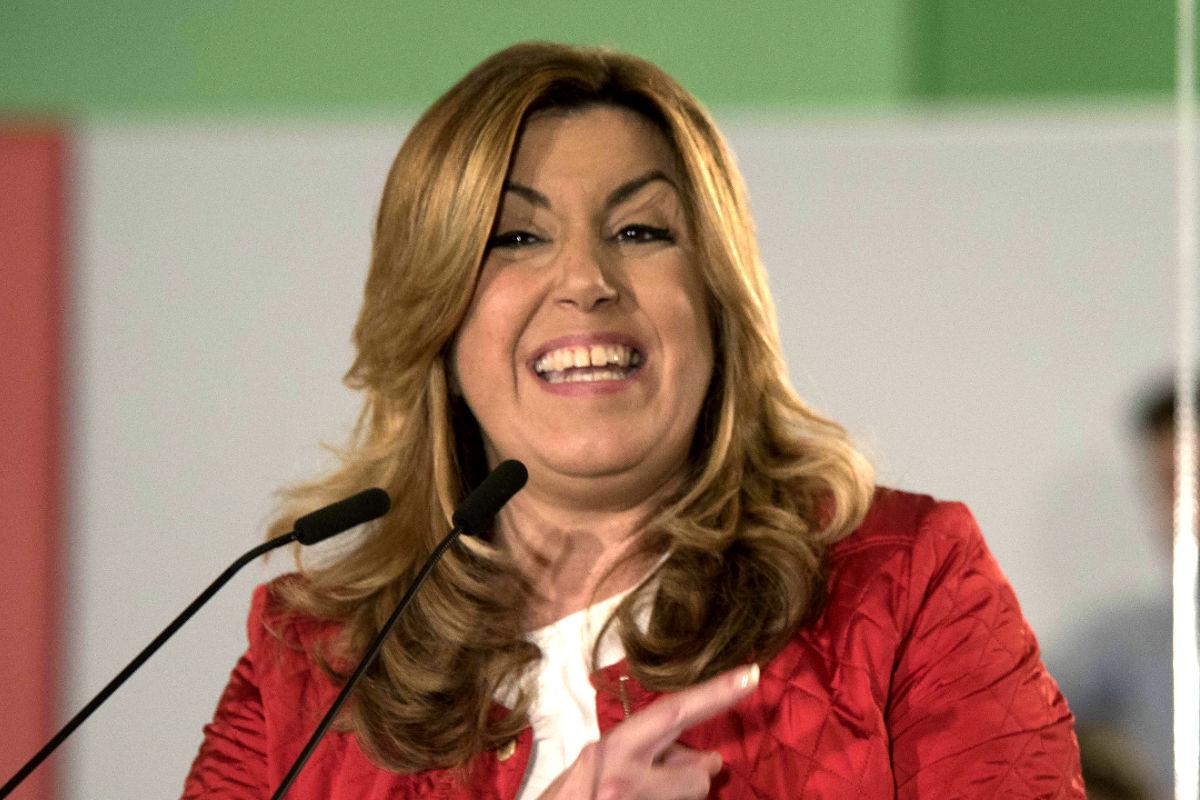 Susana Díaz en el mitin de Sevilla. (FOTO:EFE)