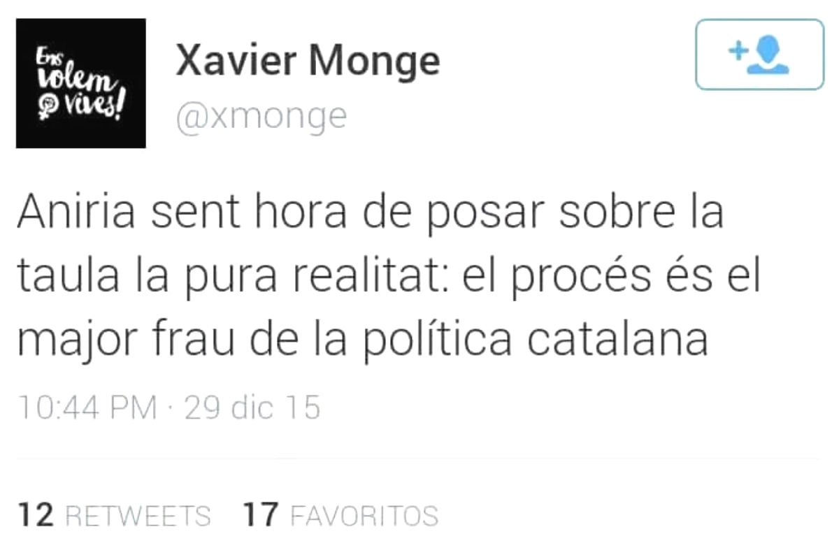 El tuit de Xavier Monge que desató la polémica