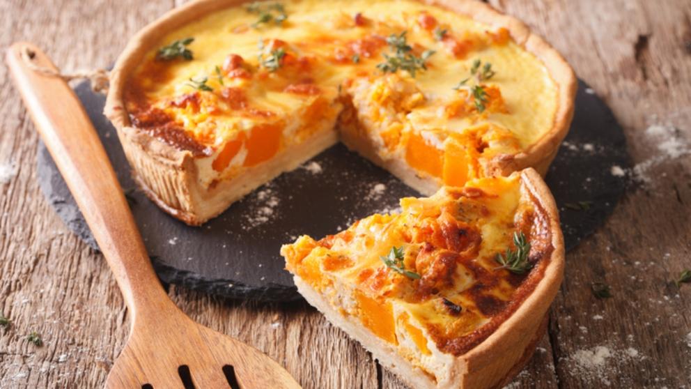 Receta de Quiche de bacon, cebolla caramelizada y queso