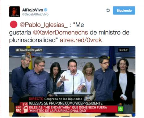Iglesias impone al independentista Domènech como ministro de plurinacionalidad
