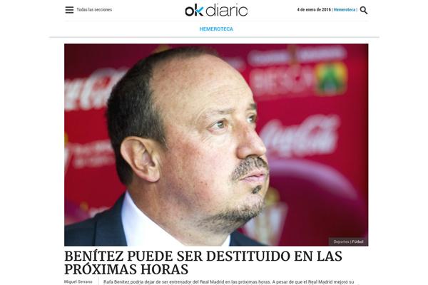 Okdiario adelantó la destitución de Benítez la pasada madrugada.