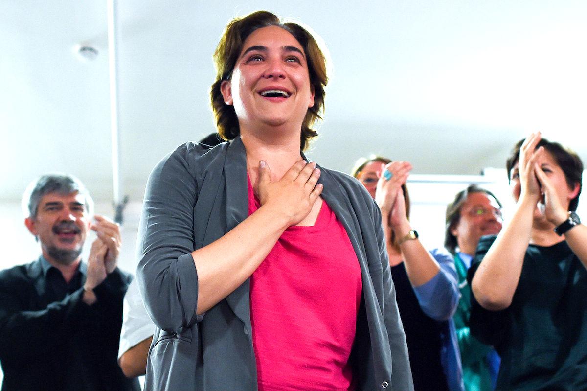 La alcaldesa de Barcelona, Ada Colau, en la noche electoral del 24M (Foto: Getty)