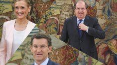 Los integrantes del «Eje del bien»: Cristina Cifuentes, Juan Vicente Herrera y Alberto Núñez Feijóo. Fotomontaje Okdiario (Gettyimages)