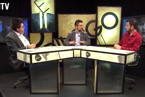 Carlos Sánchez Mato y Eduardo Garzón, durante un debate en Hispan TV