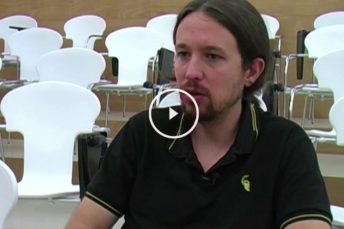 El líder de Podemos, Pablo Iglesias, durante una entrevista
