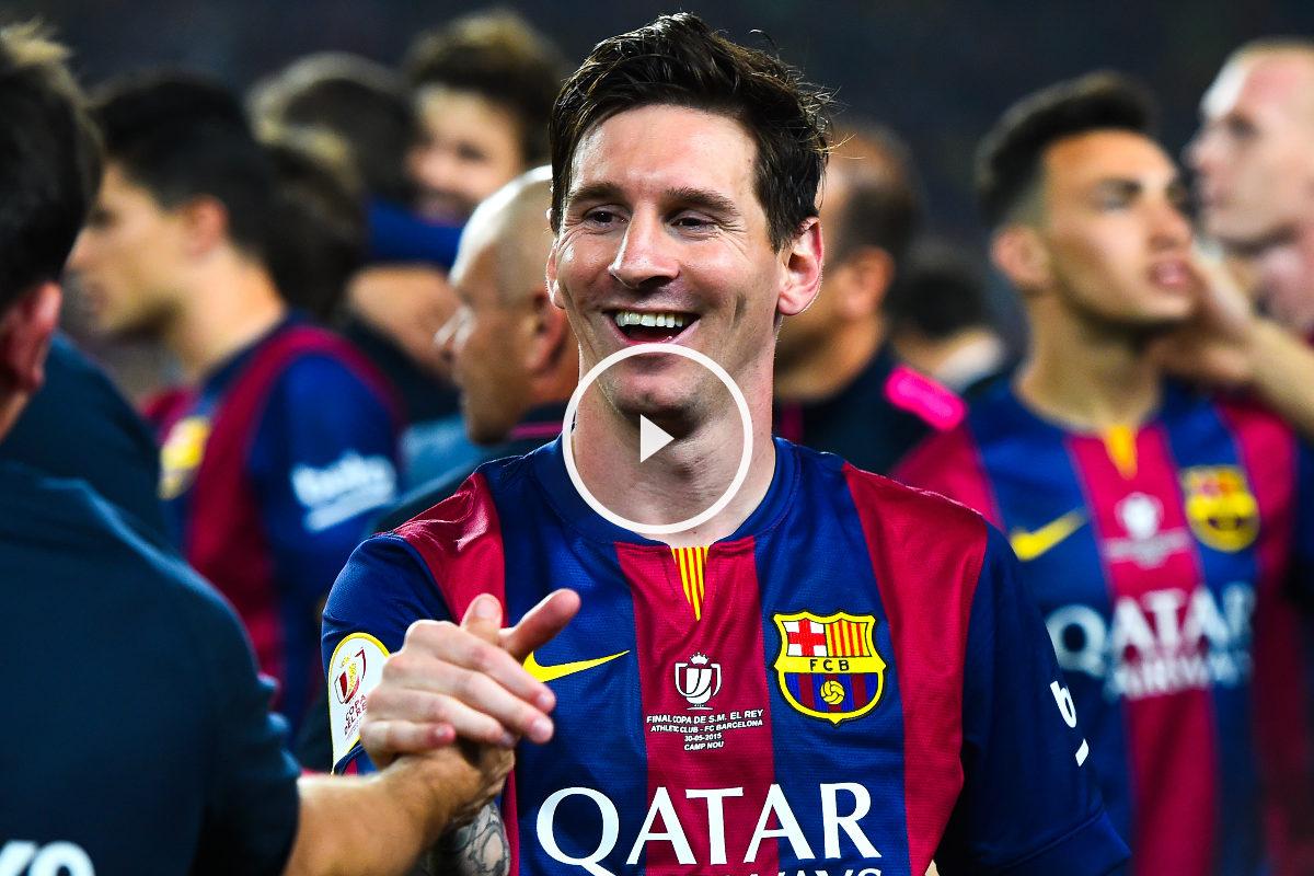 Messi celebra con sus compañeros la consecución de uno de los títulos de esta temporada.