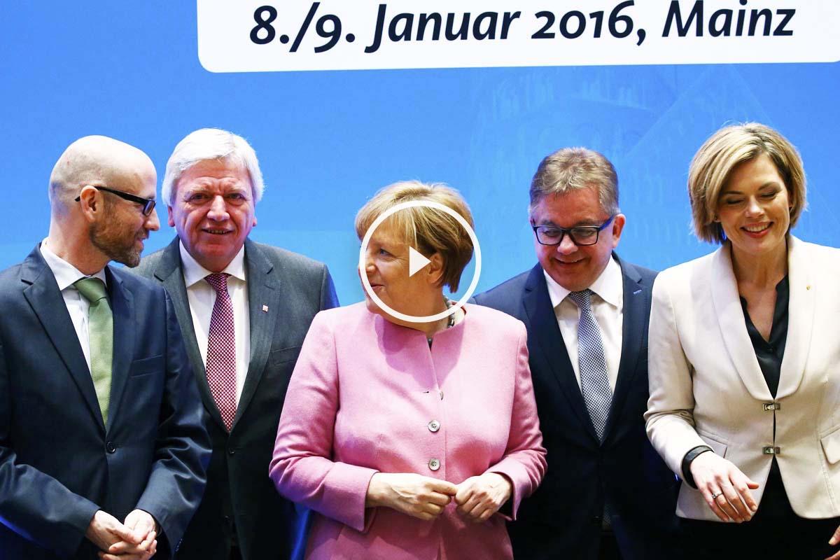 Angela Merkel, durante la reunión en Maguncia (Foto: Reuters)
