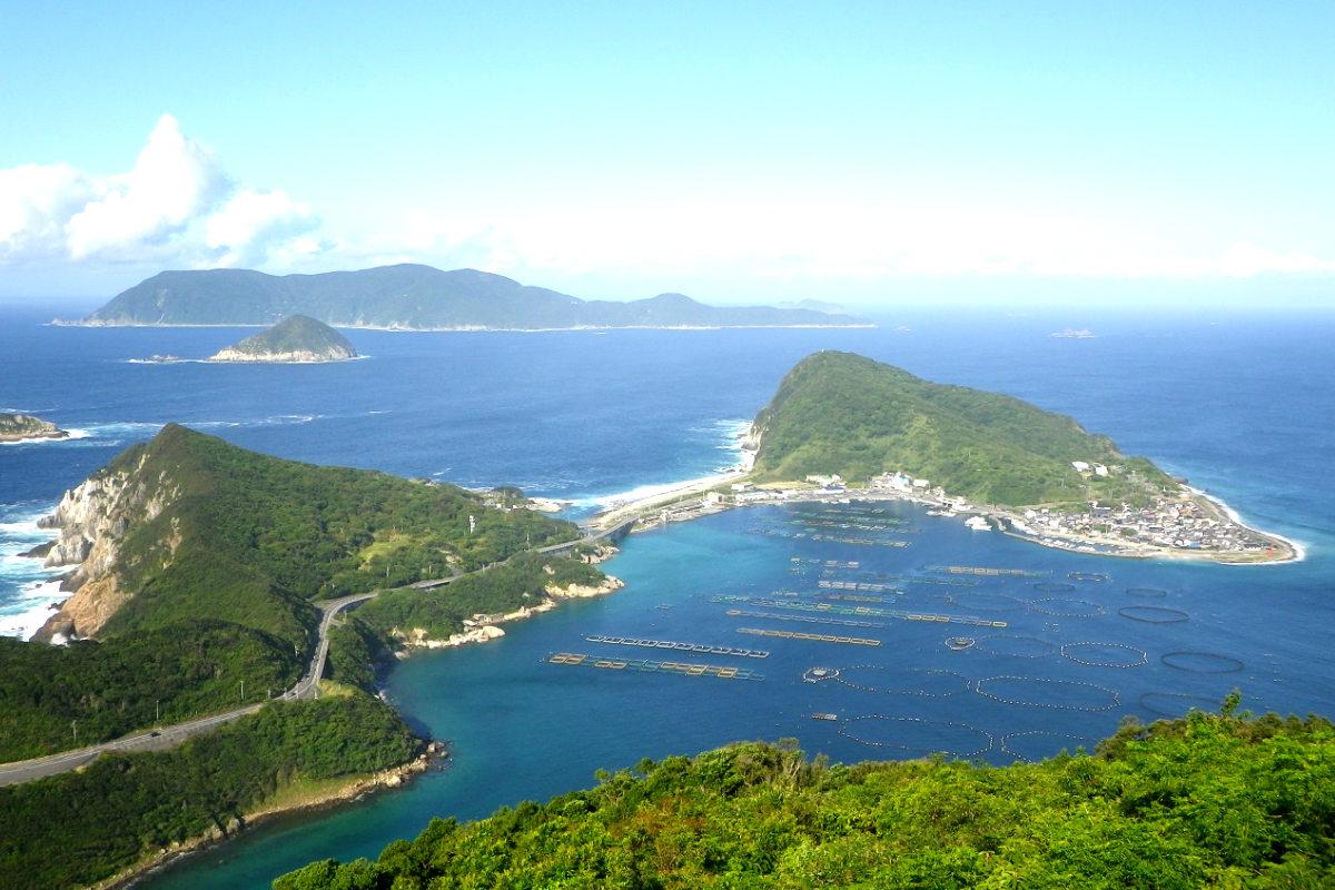 Panorámica de la isla japonesa de Okinoshima.