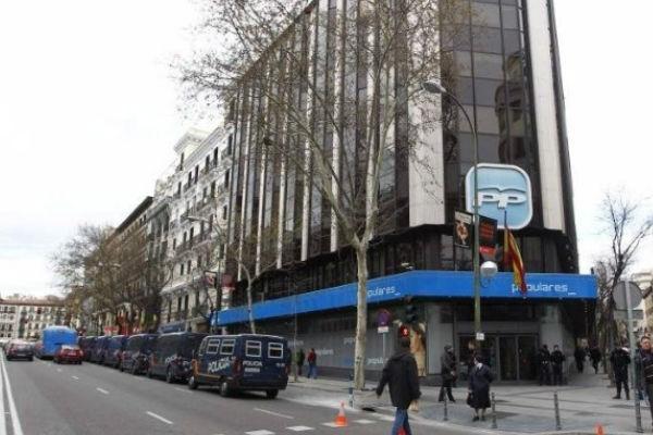 Sede nacional del PP, situada en la calle Génova 13 de Madrid.