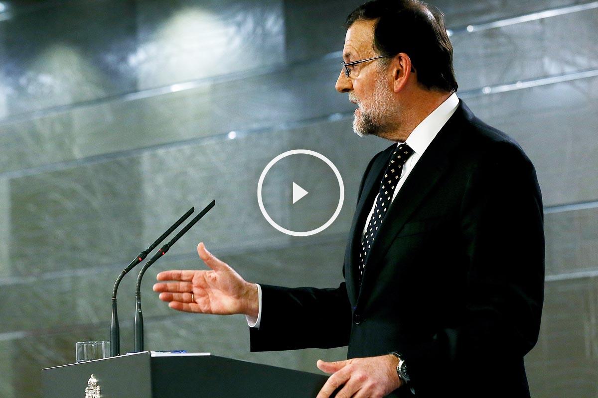 Mariano Rajoy, durante su rueda de prensa tras reunirse con el Rey (Foto: EFE)