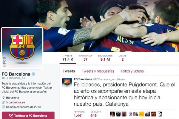 El FC Barcelona felicita al nuevo presidente de «nuestro país, Catalunya»
