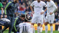 Benzema y Cristiano observan a Bale atendido en el suelo. (Getty)