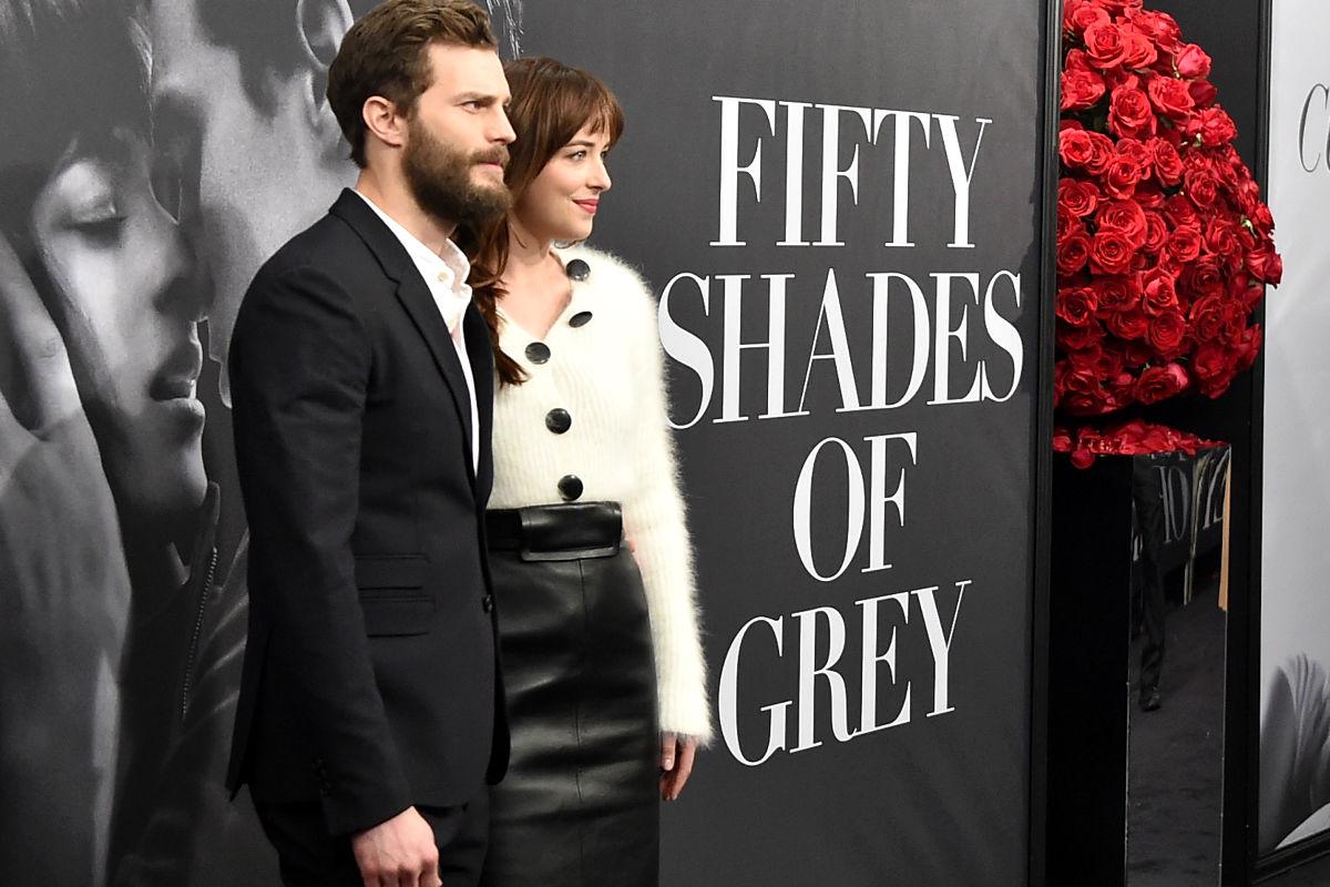 Imagen del estreno de la película Cincuenta Sombras de Grey con Dakota Johnson y Jamie Dornan. (Foto: Getty)
