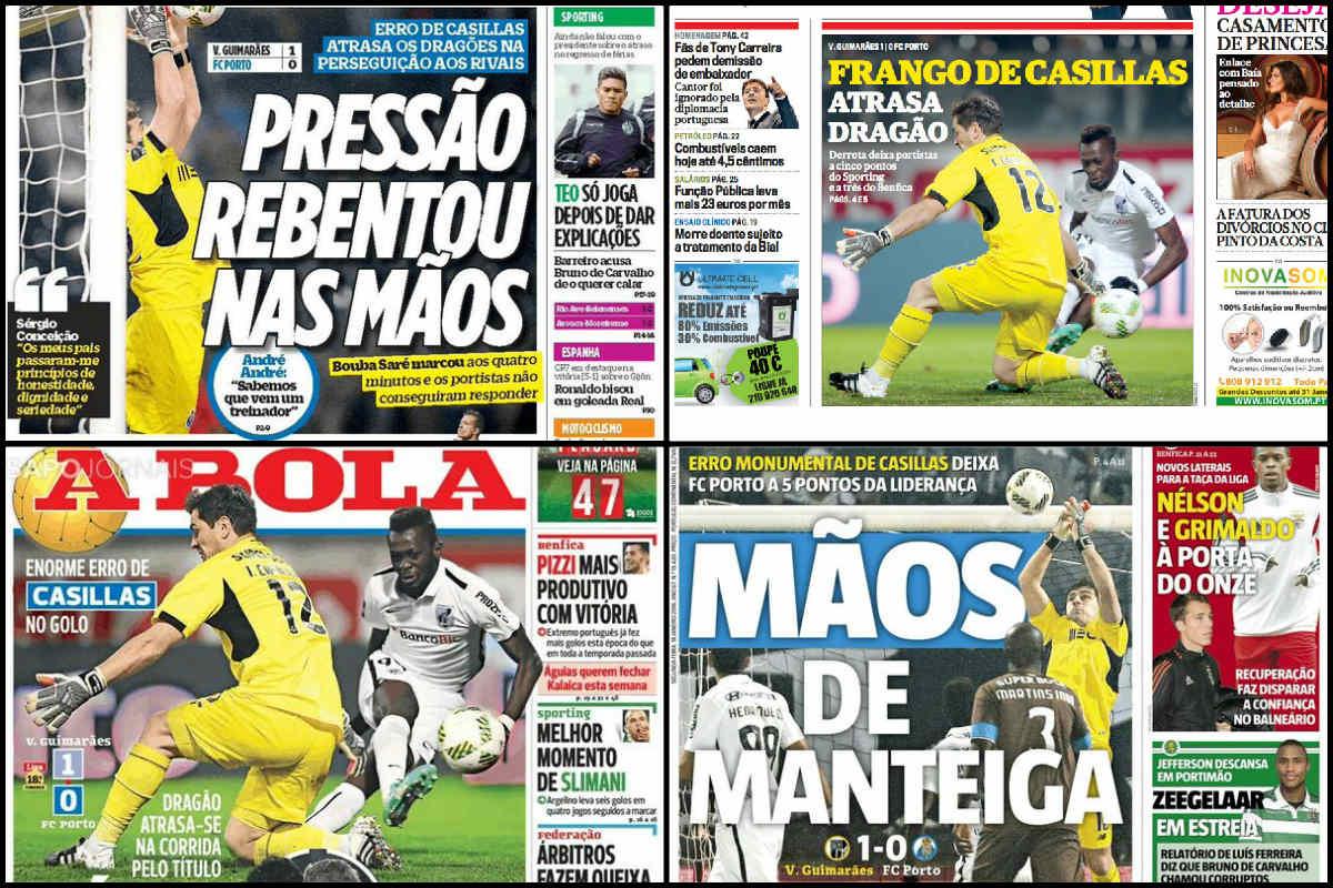 La prensa de Portugal llevó a portada el fallo de Casillas ante el Vitória.
