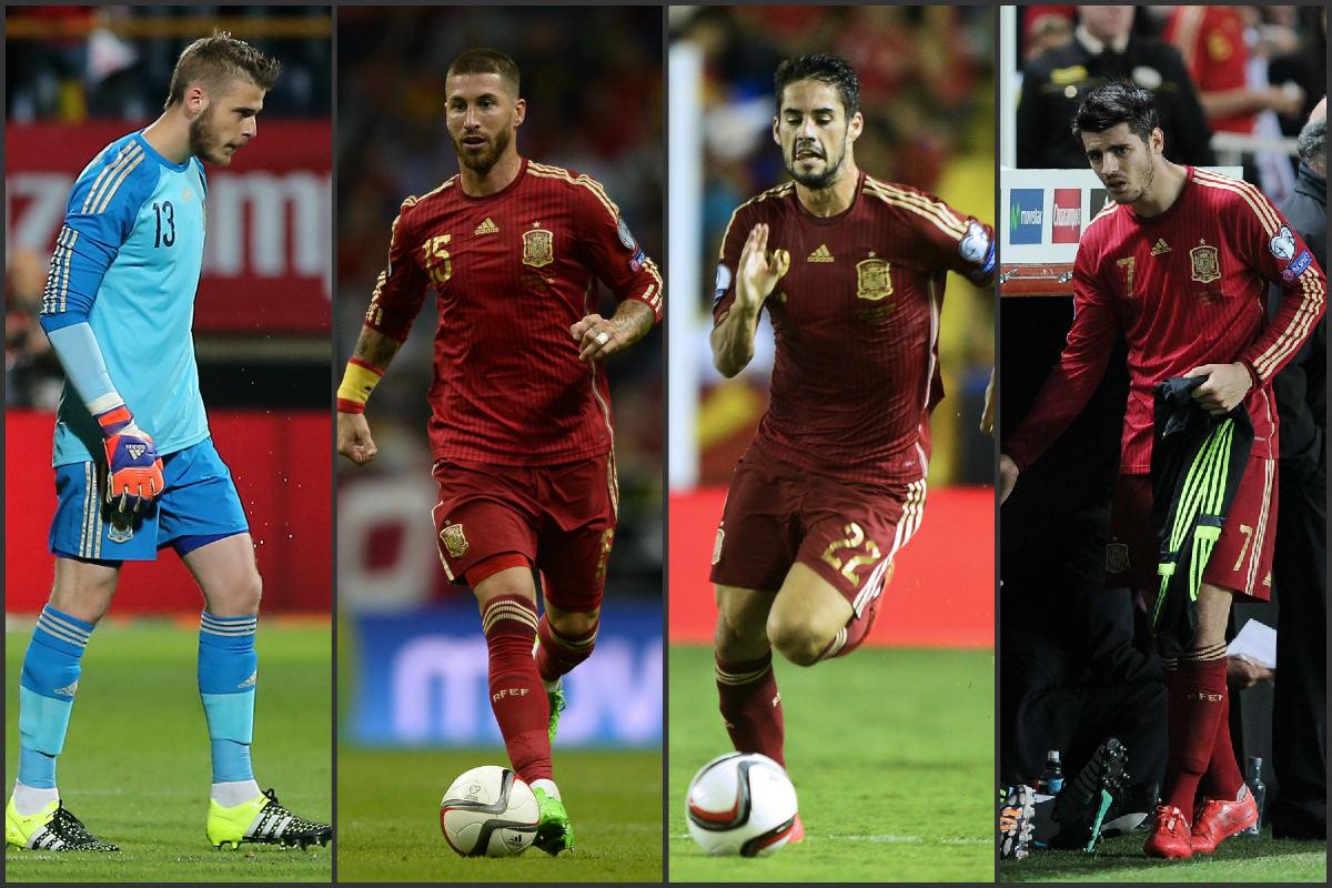 De Gea, Sergio Ramos, Isco y Morata. (AFP)