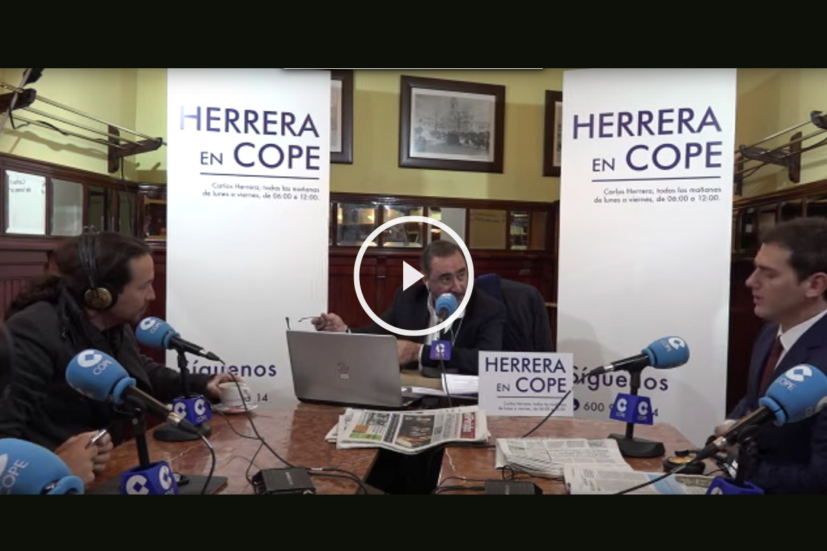 Pablo Iglesias y Albert Rivera, en el programa de Carlos Herrera en Cope