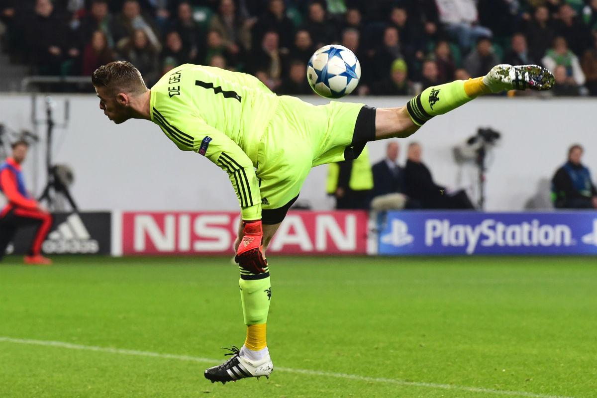 David de Gea, en un partido de Champions con el United. (AFP)