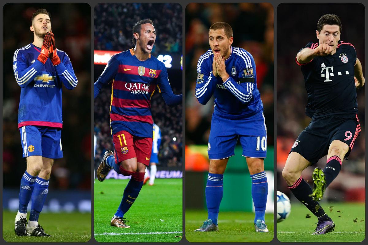 De Gea, Neymar, Hazard y Lewandowski.