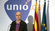 Josep Antoni Duran i Lleida durante el acto en el que anunció su dimisión. (Foto: EFE)