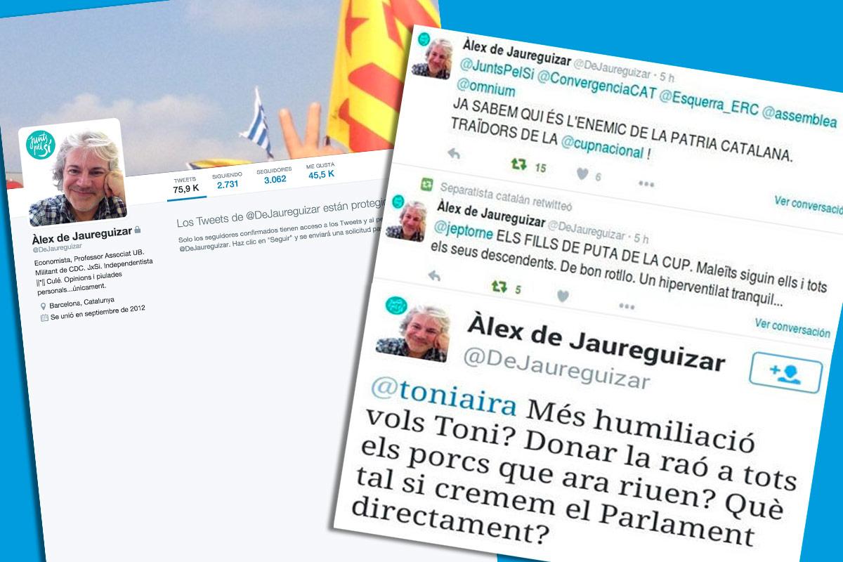 Los mensajes incendidarios del profesor de la Universidad de Barcelona Àlex de Jaureguizar en la red social Twitter