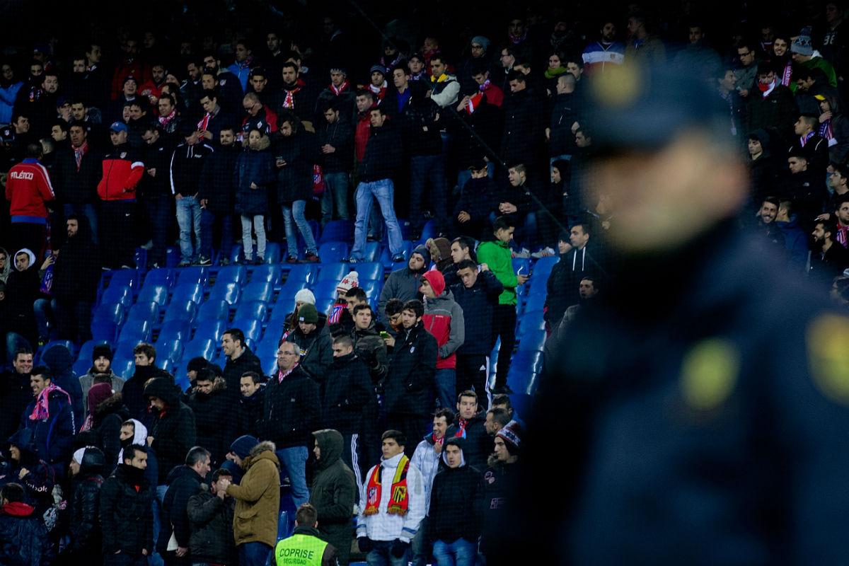 El Frente Atlético, en un partido contra el Villarreal. (Getty)
