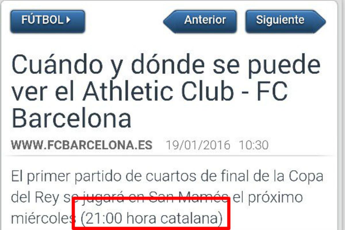 El Barcelona anunció su partido en hora catalana.