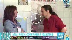 Pablo Iglesias en su VPO de Vallecas, junto a Ana Rosa Quintana