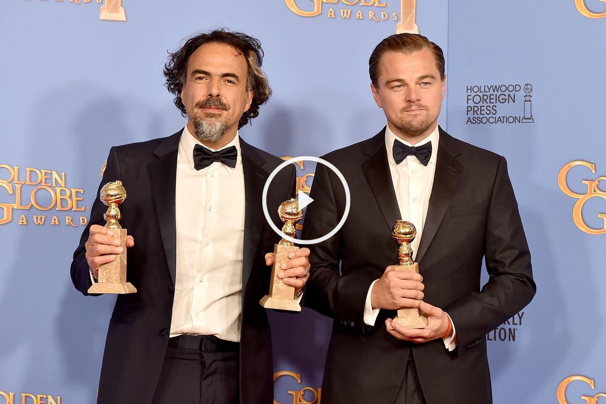 Alejandro González Iñárritu y Leonardo DiCaprio. (Foto: AFP)