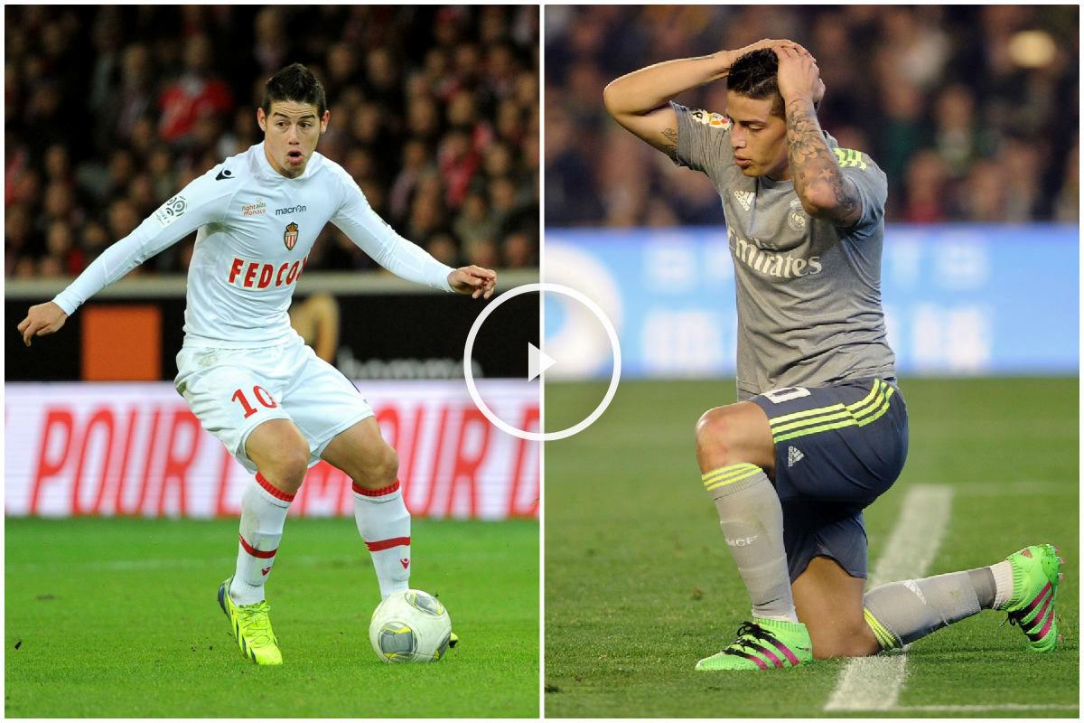 James Rodríguez en el Mónaco y en el Real Madrid. (Imágenes AFP)