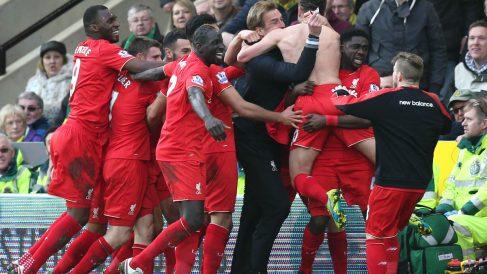 El Liverpool celebra el gol de Lallana que les dio la victoria. (Reuters)