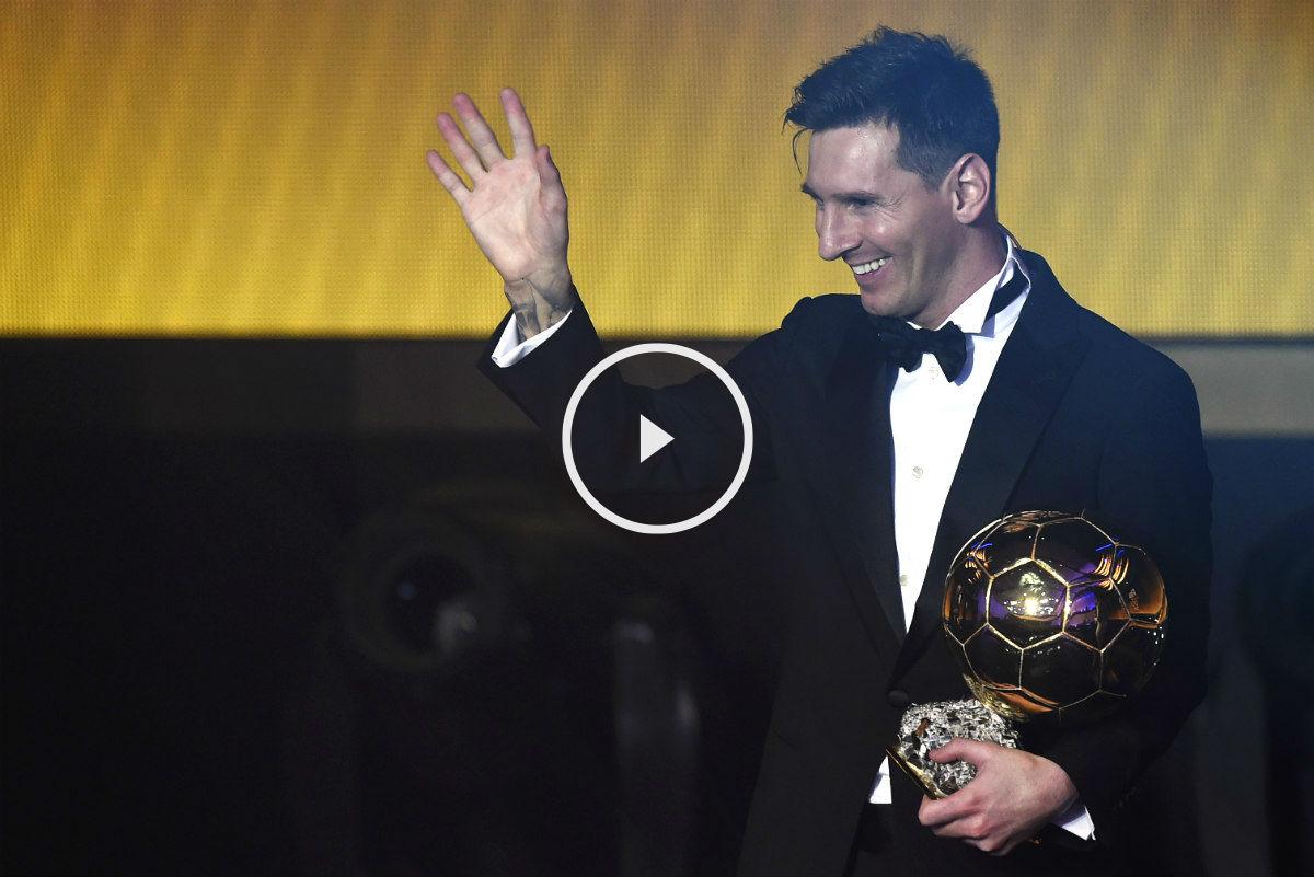 Leo Messi, con su quinto Balón de Oro bajo el brazo. (AFP)