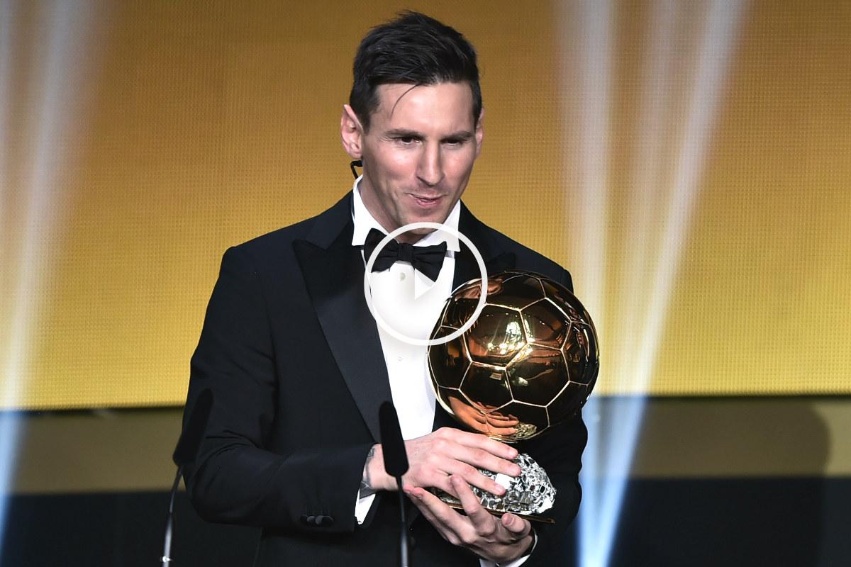 Messi con su quinto Balón de Oro. (AFP)