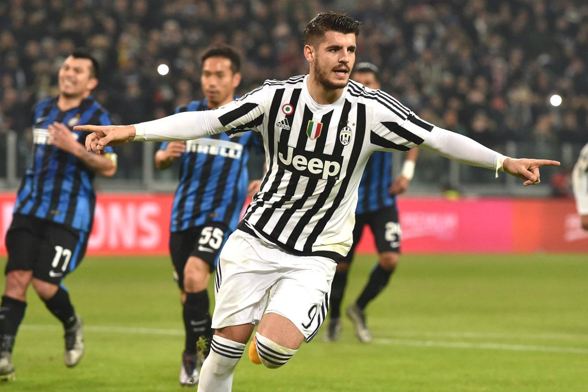 Morata celebra su primer gol ante el Inter. (Getty)