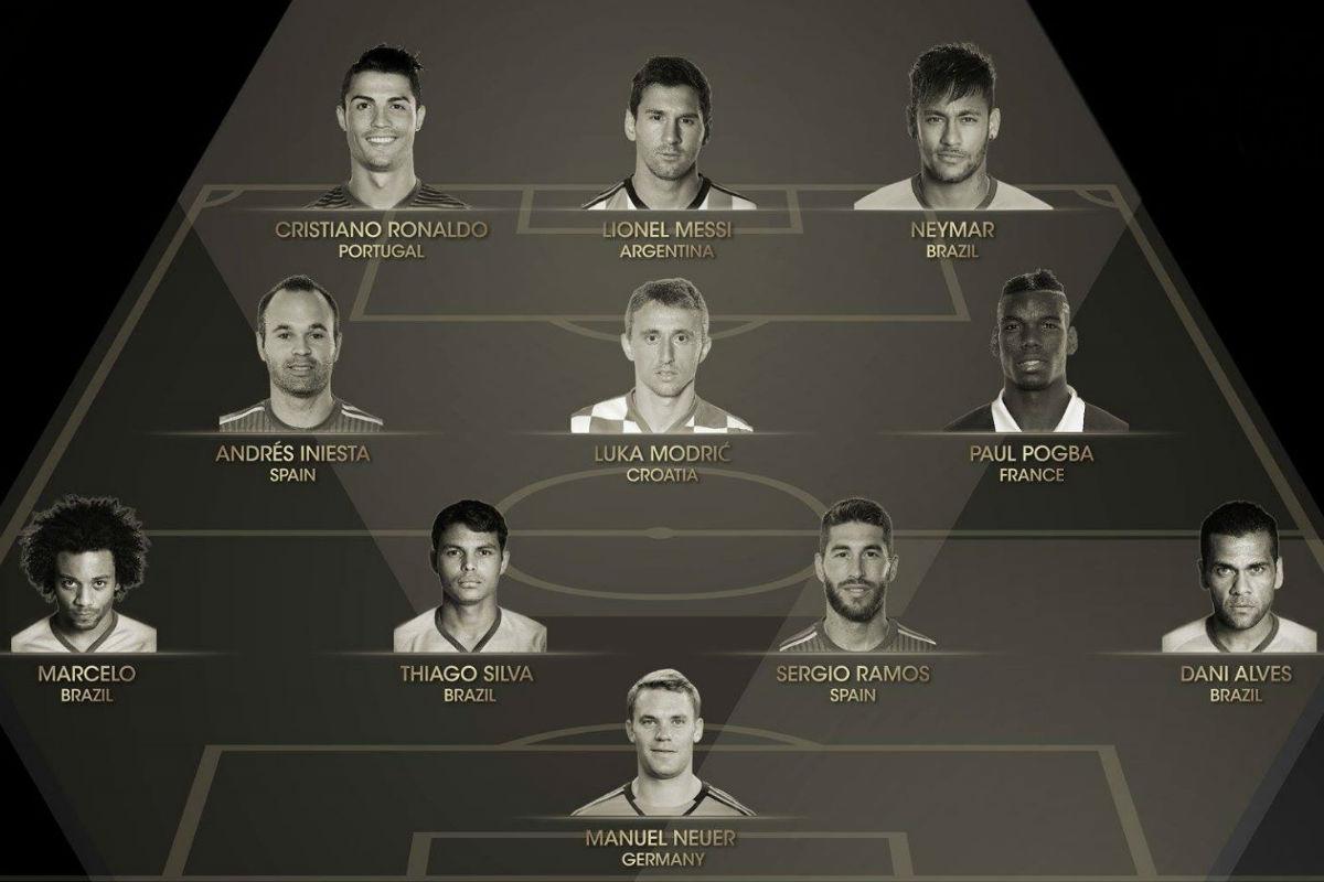 El Once Mundial de 2015 está compuesto por cuatro del Real Madrid y cuatro del Barcelona.