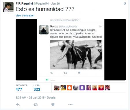 Un tuit que desea a Rivera la misma suerte que corrió su padre Paquirri.