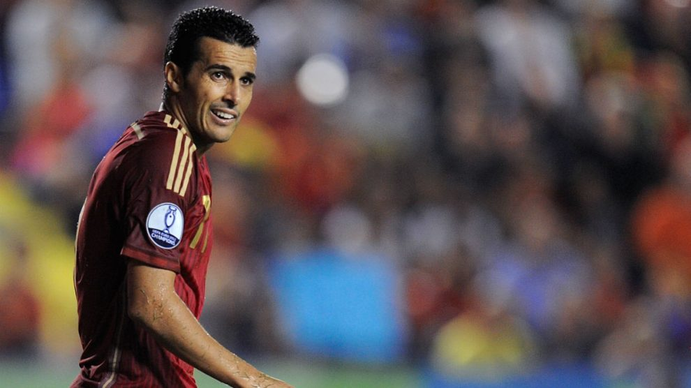 Pedro Rodríguez, en un partido con España. (Getty)